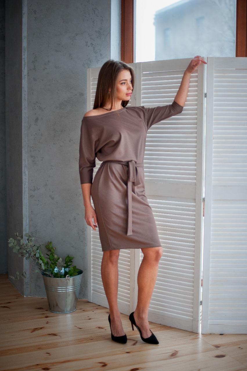 Платье трикотаж лакоста, шоколад